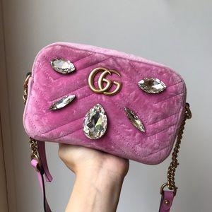 Gucci marmont pink crystal velvet bag